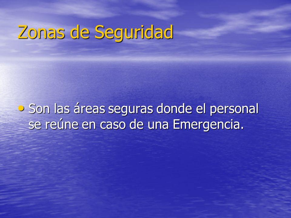 Zonas de Seguridad Son las áreas seguras donde el personal se reúne en caso de una Emergencia.