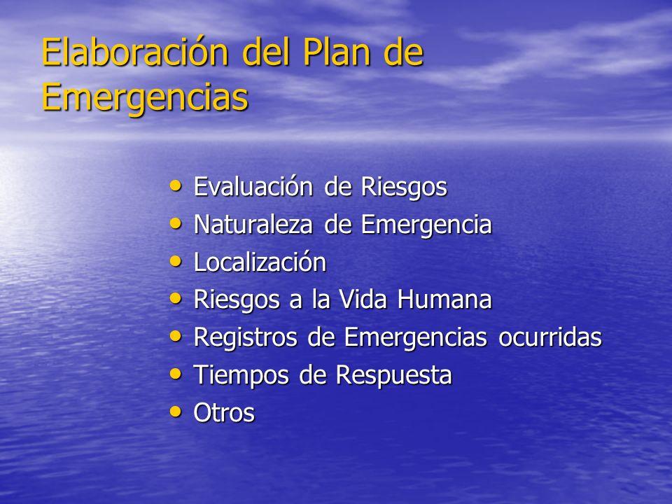 Elaboración del Plan de Emergencias