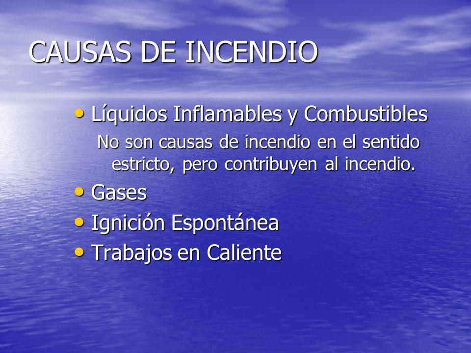 CAUSAS DE INCENDIO Líquidos Inflamables y Combustibles Gases