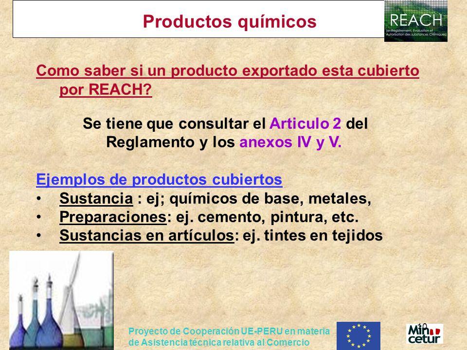Productos químicos Como saber si un producto exportado esta cubierto por REACH