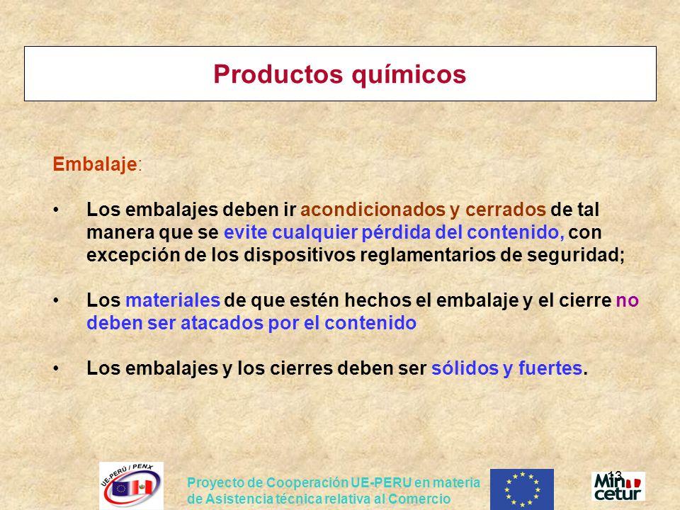 Productos químicos Embalaje: