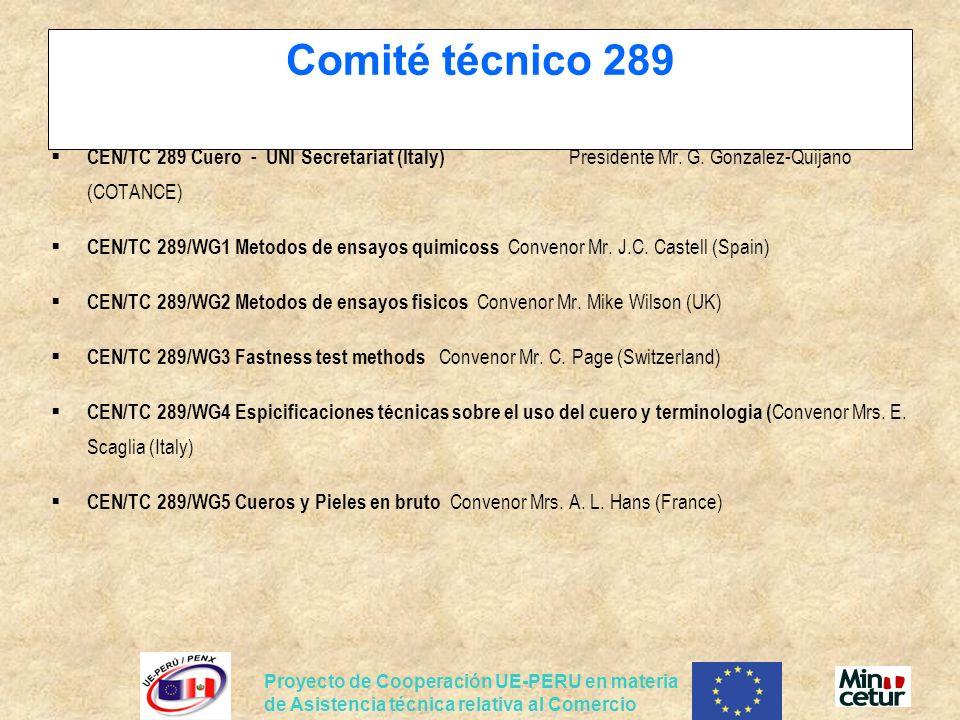 Comité técnico 289 CEN/TC 289 Cuero - UNI Secretariat (Italy) Presidente Mr. G. Gonzalez-Quijano (COTANCE)