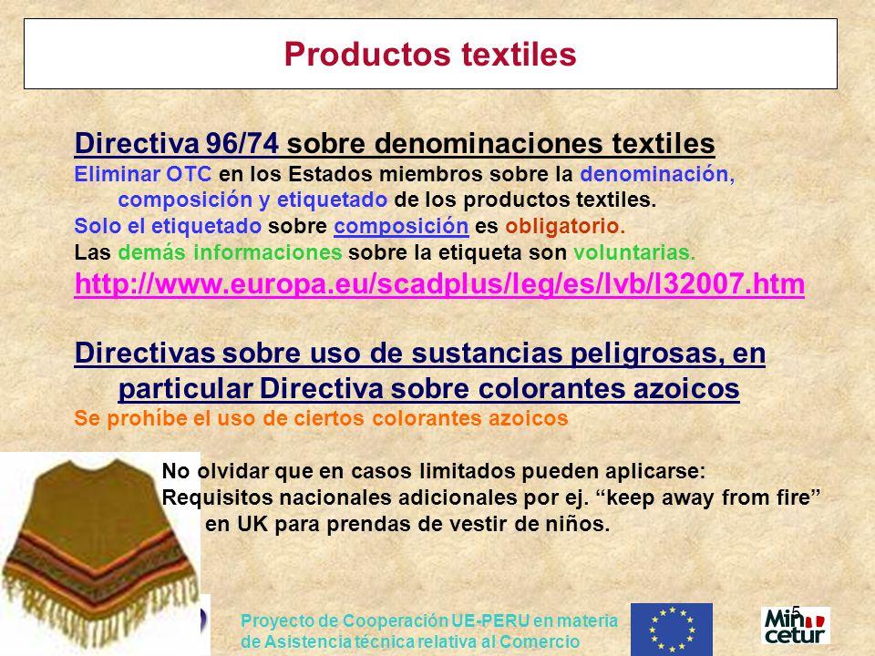 Productos textiles Directiva 96/74 sobre denominaciones textiles