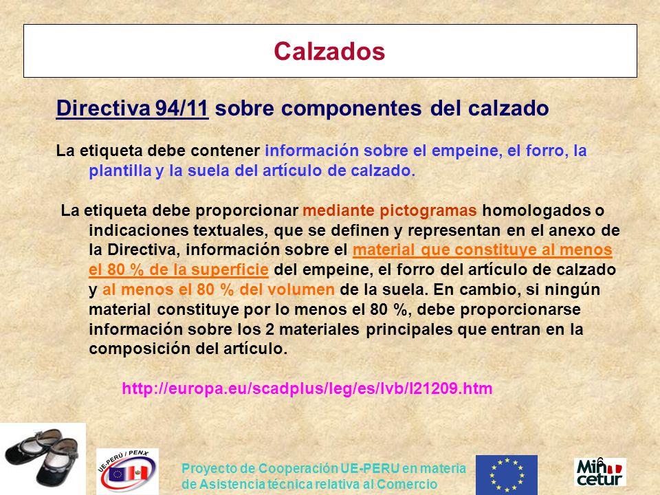 Calzados Directiva 94/11 sobre componentes del calzado