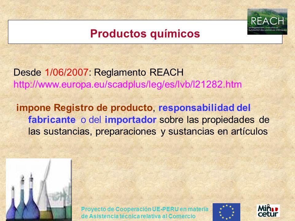Productos químicos Desde 1/06/2007: Reglamento REACH