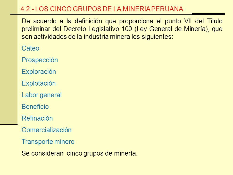 4.2.- LOS CINCO GRUPOS DE LA MINERIA PERUANA