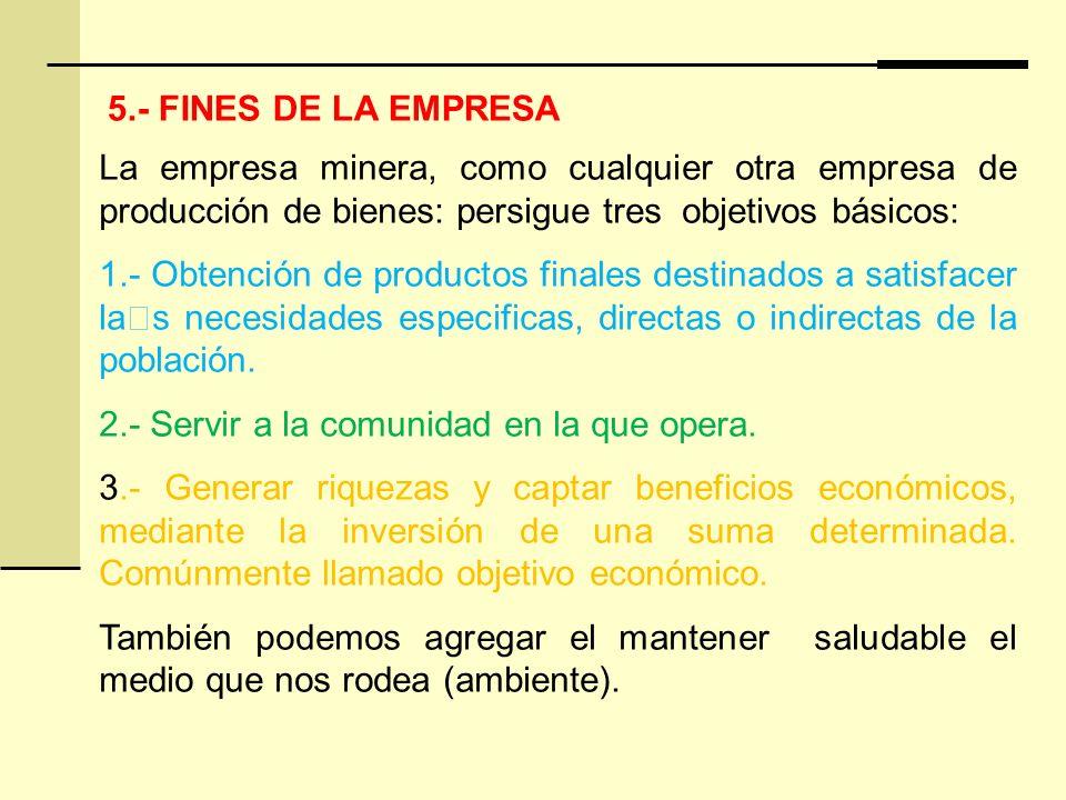 5.- FINES DE LA EMPRESA La empresa minera, como cualquier otra empresa de producción de bienes: persigue tres objetivos básicos: