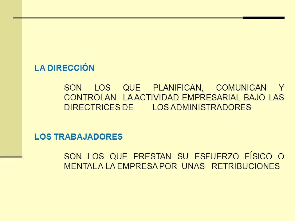 LA DIRECCIÓN SON LOS QUE PLANIFICAN, COMUNICAN Y CONTROLAN LA ACTIVIDAD EMPRESARIAL BAJO LAS DIRECTRICES DE LOS ADMINISTRADORES.