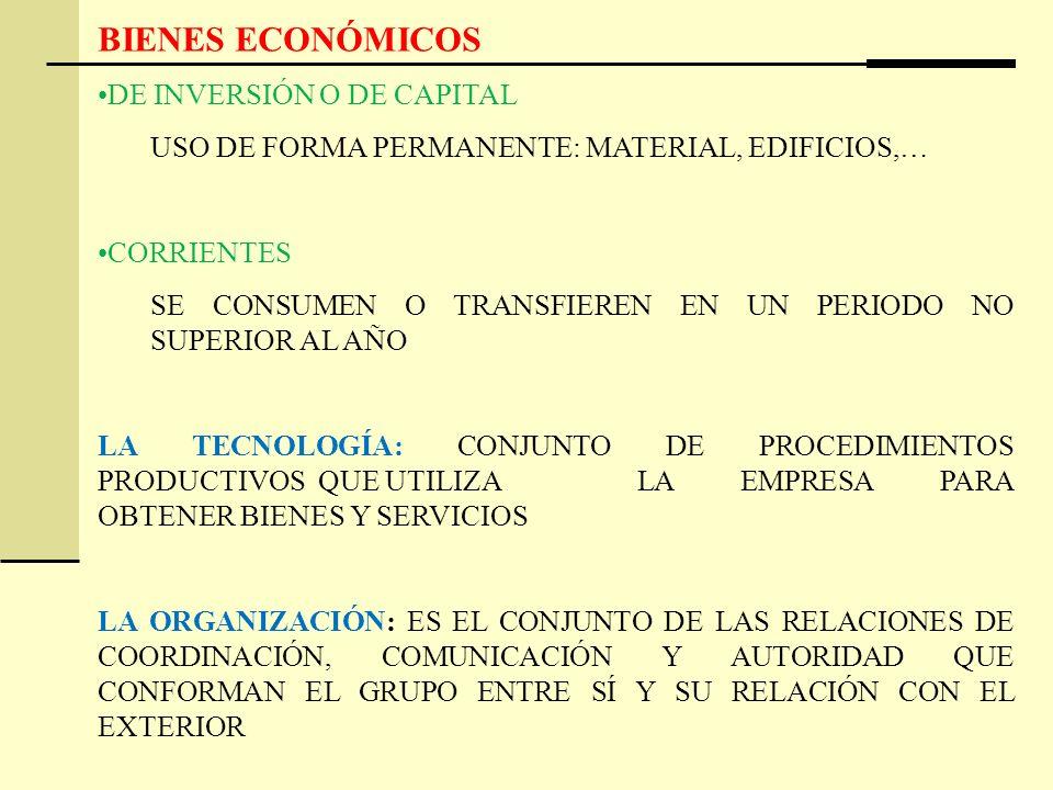 BIENES ECONÓMICOS DE INVERSIÓN O DE CAPITAL