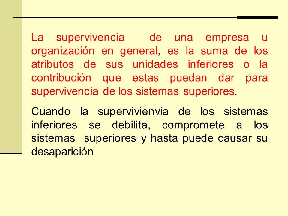 La supervivencia de una empresa u organización en general, es la suma de los atributos de sus unidades inferiores o la contribución que estas puedan dar para supervivencia de los sistemas superiores.