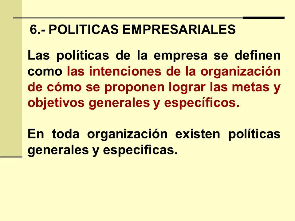 6.- POLITICAS EMPRESARIALES