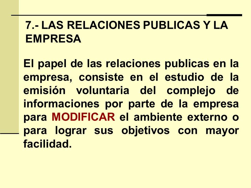 7.- LAS RELACIONES PUBLICAS Y LA EMPRESA