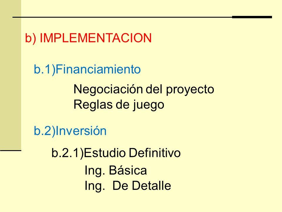 b) IMPLEMENTACION b.1)Financiamiento. Negociación del proyecto. Reglas de juego. b.2)Inversión. b.2.1)Estudio Definitivo.