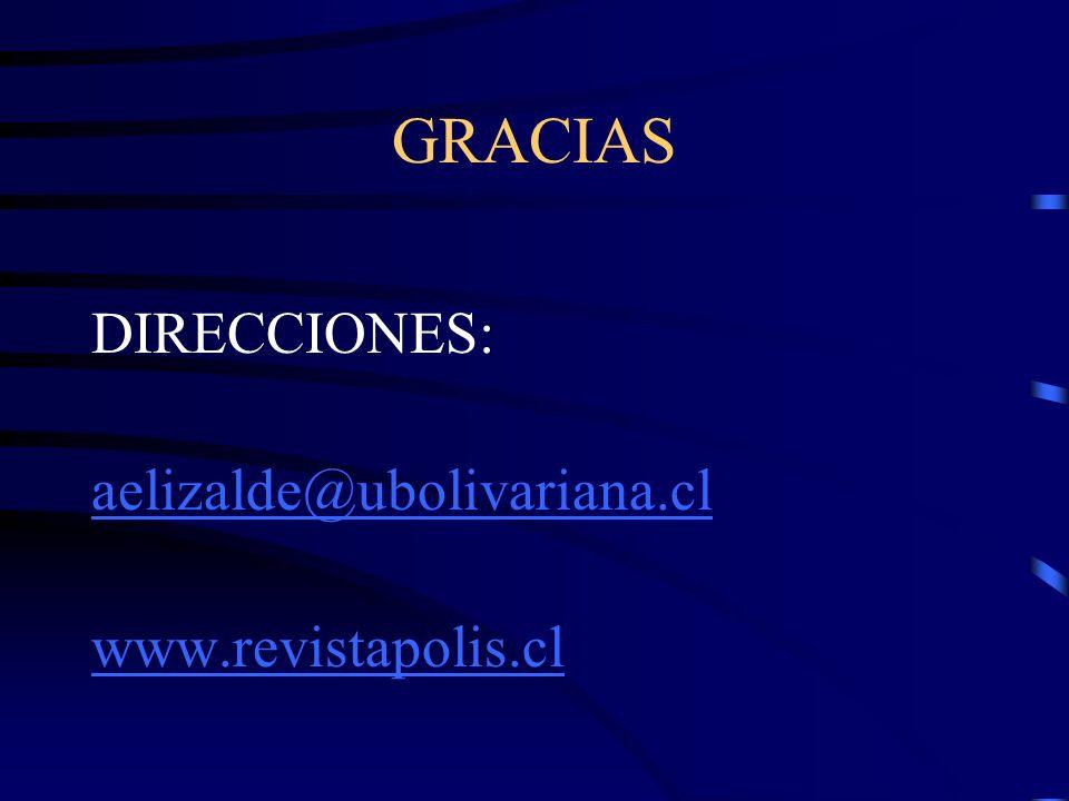 GRACIAS DIRECCIONES: aelizalde@ubolivariana.cl www.revistapolis.cl