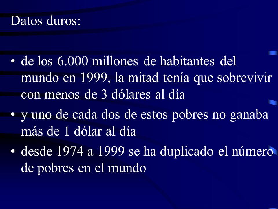 Datos duros: de los 6.000 millones de habitantes del mundo en 1999, la mitad tenía que sobrevivir con menos de 3 dólares al día.