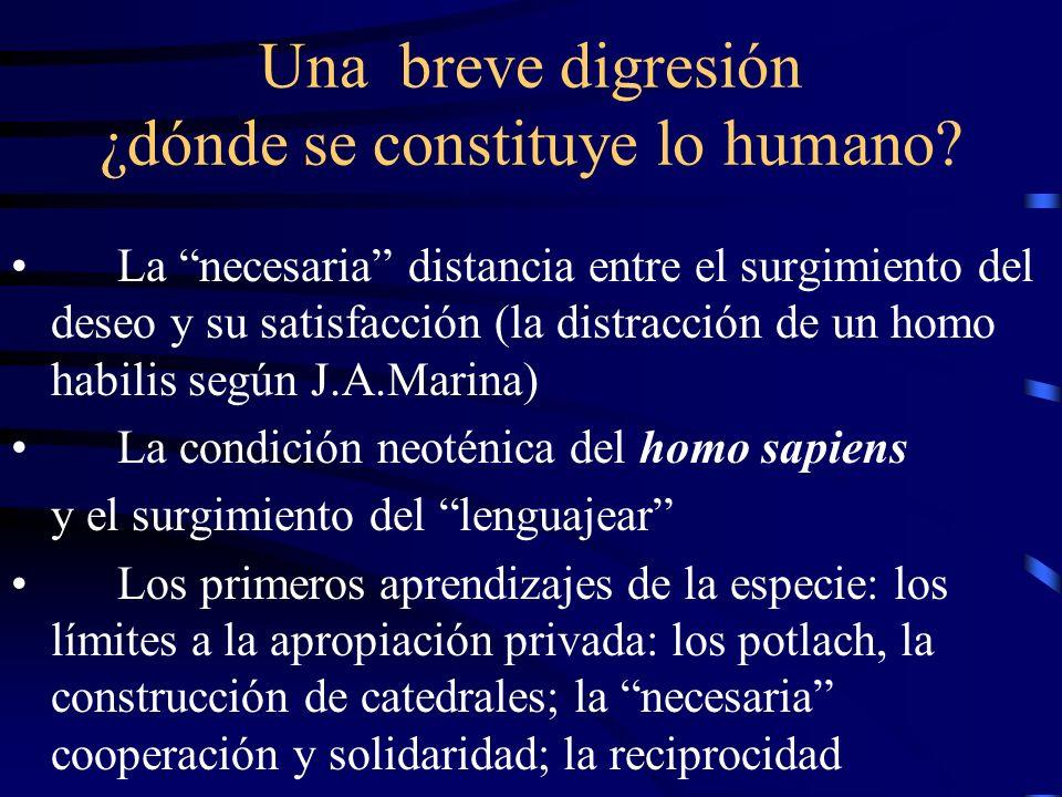 Una breve digresión ¿dónde se constituye lo humano