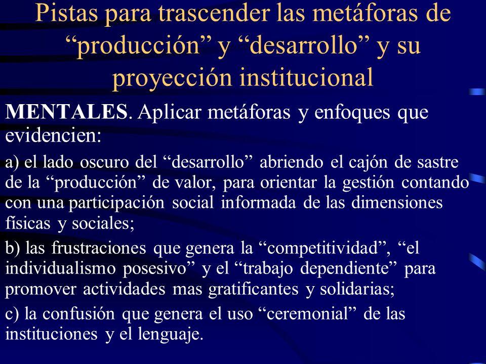 Pistas para trascender las metáforas de producción y desarrollo y su proyección institucional