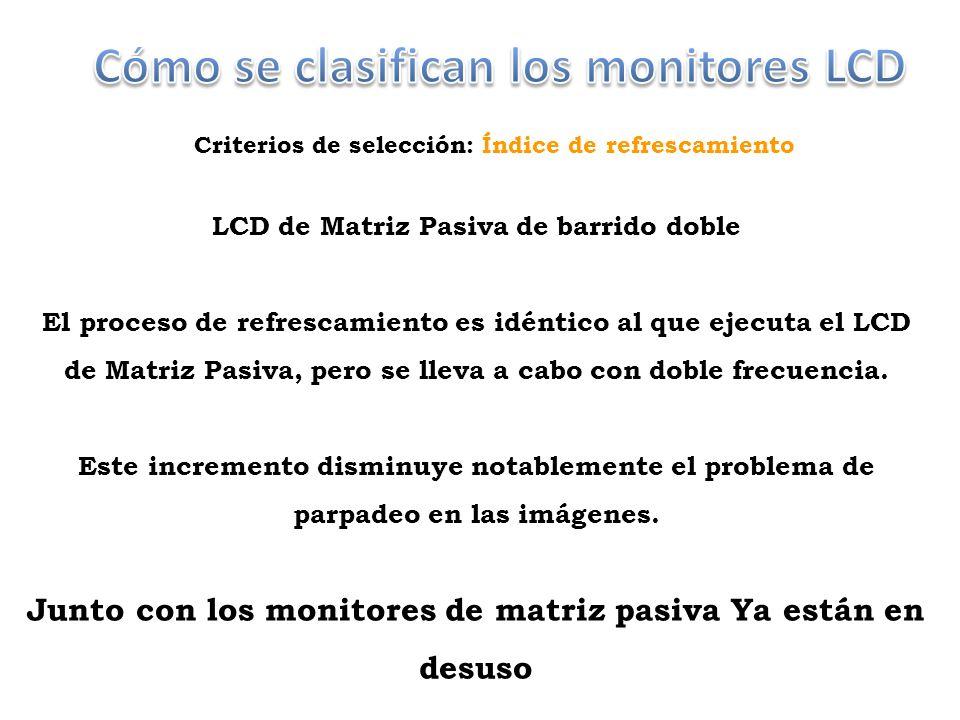 Cómo se clasifican los monitores LCD