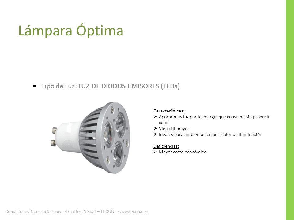 Lámpara Óptima Tipo de Luz: LUZ DE DIODOS EMISORES (LEDs)
