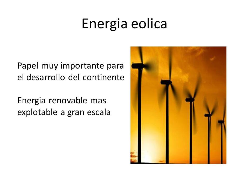 Energia eolica Papel muy importante para el desarrollo del continente