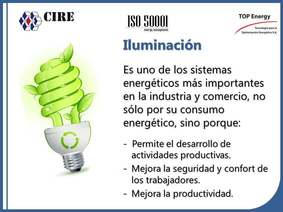 Iluminación Es uno de los sistemas energéticos más importantes en la industria y comercio, no sólo por su consumo energético, sino porque: