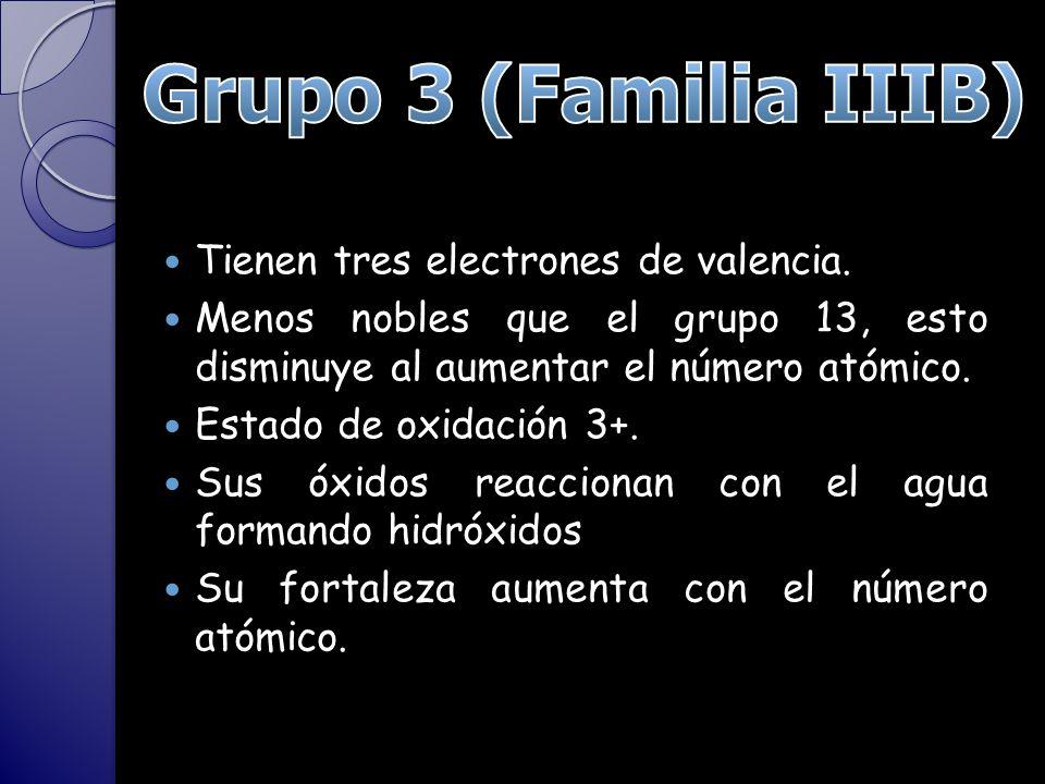 Grupo 3 (Familia IIIB) Tienen tres electrones de valencia.