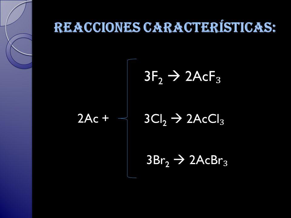 Reacciones características: