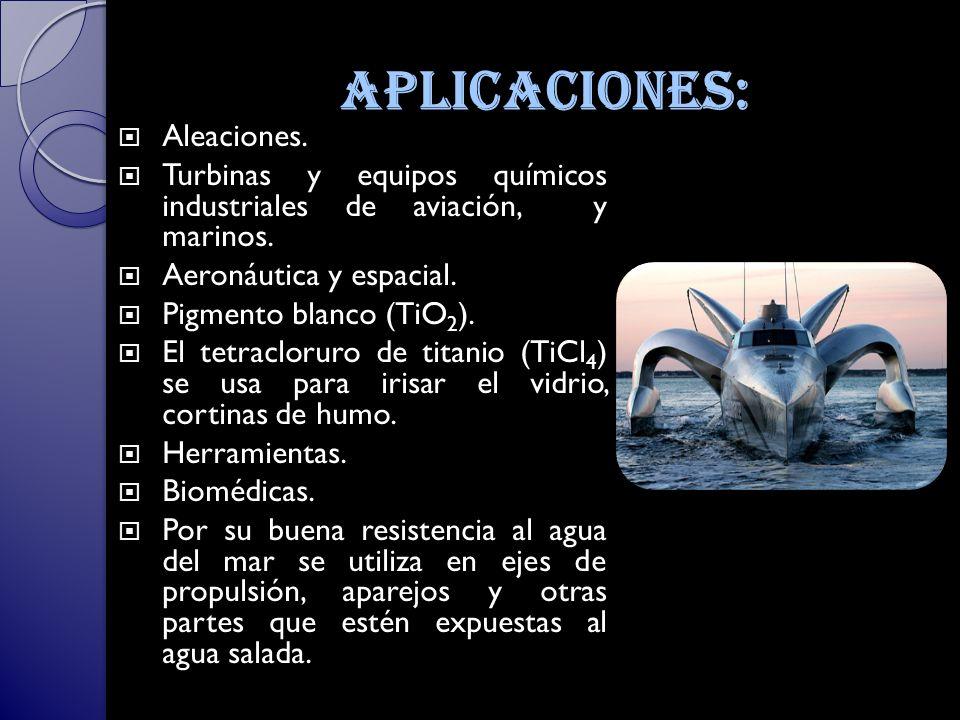 aplicaciones: Aleaciones.