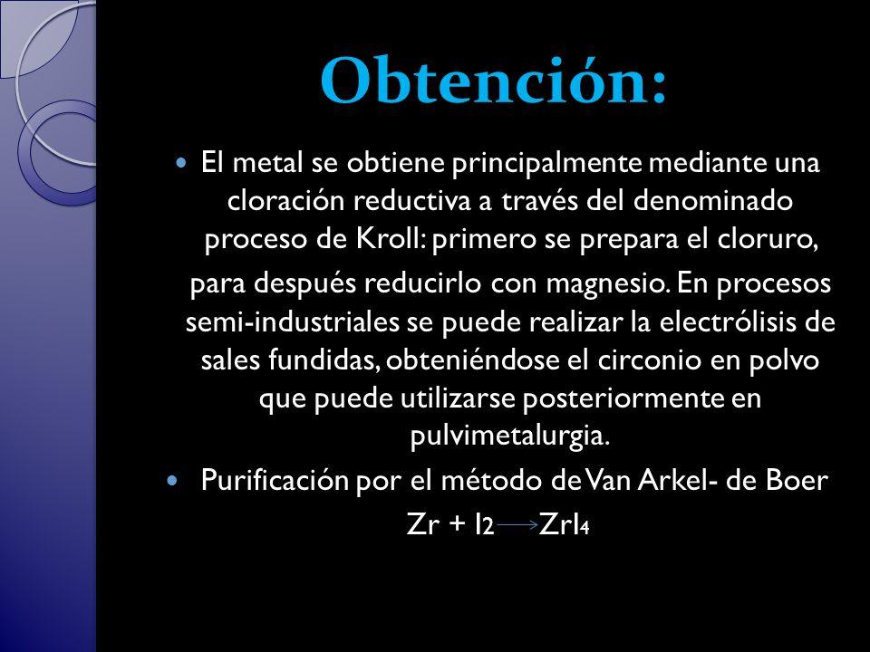 Purificación por el método de Van Arkel- de Boer