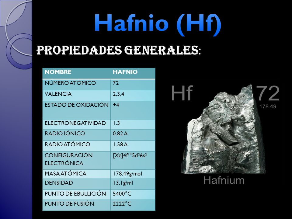 Hafnio (Hf) Propiedades generales: NOMBRE HAFNIO NÚMERO ATÓMICO 72