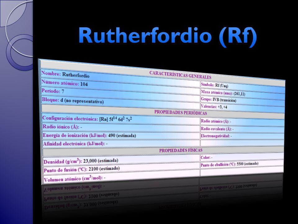 Rutherfordio (Rf)