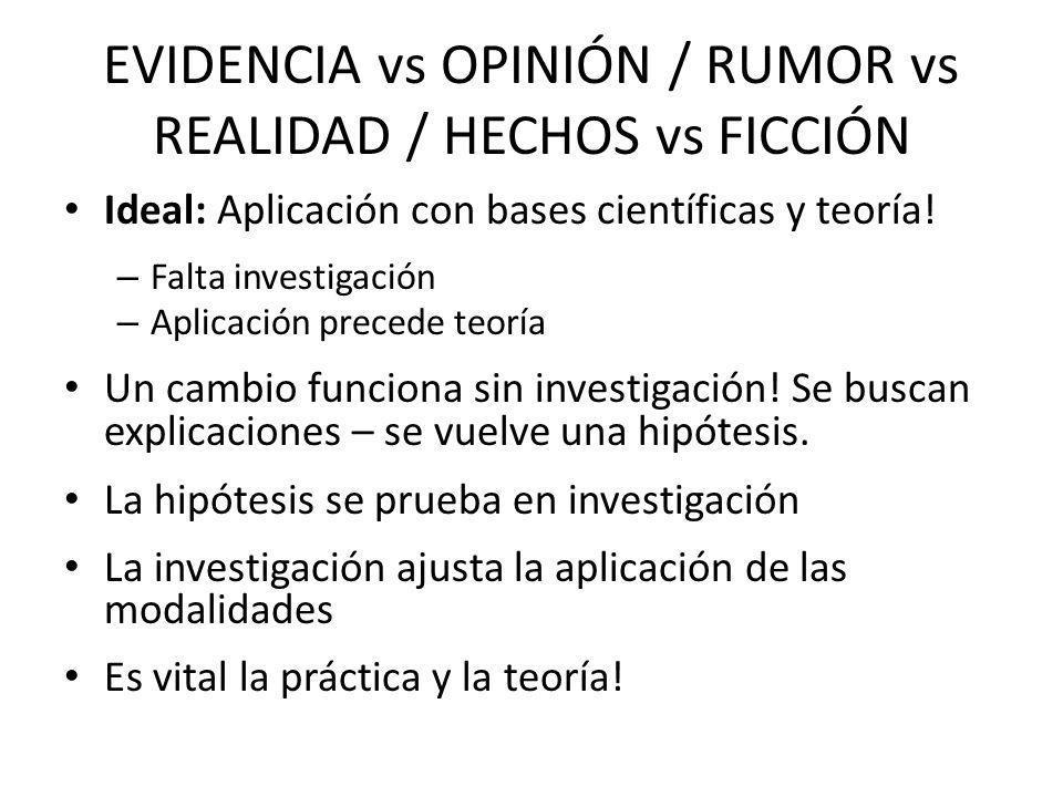 EVIDENCIA vs OPINIÓN / RUMOR vs REALIDAD / HECHOS vs FICCIÓN