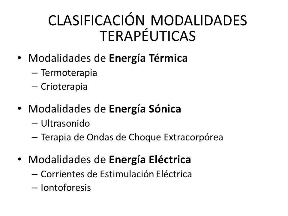 CLASIFICACIÓN MODALIDADES TERAPÉUTICAS