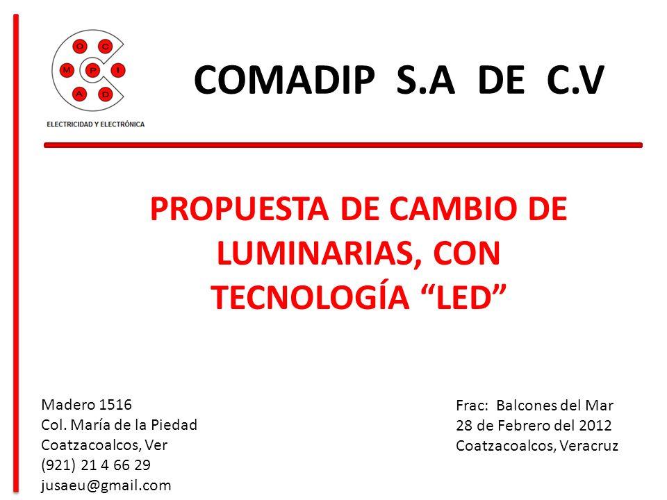PROPUESTA DE CAMBIO DE LUMINARIAS, CON TECNOLOGÍA LED