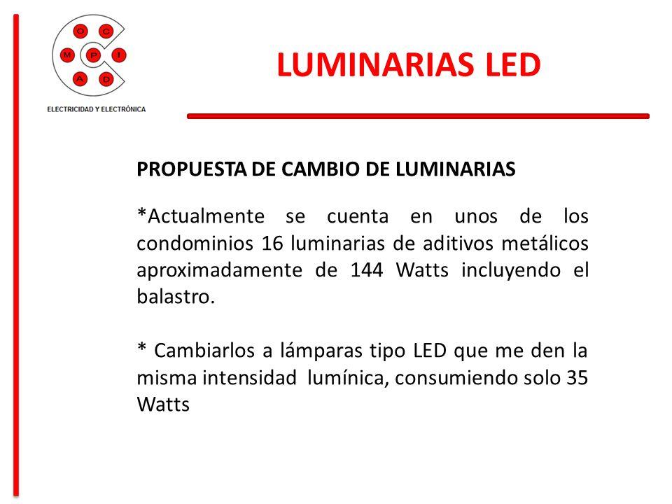 LUMINARIAS LED PROPUESTA DE CAMBIO DE LUMINARIAS