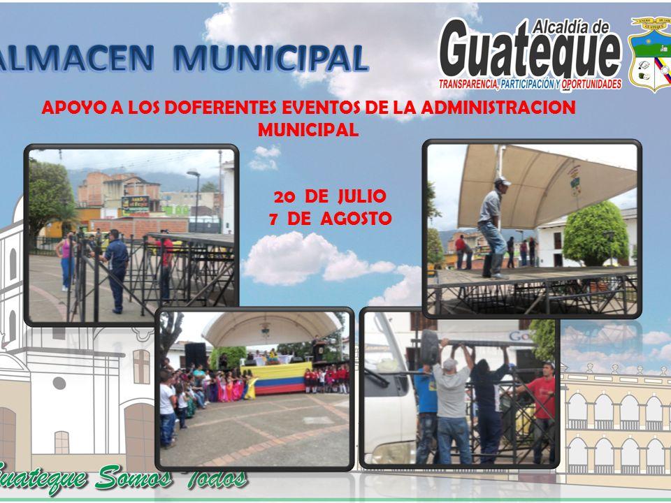 APOYO A LOS DOFERENTES EVENTOS DE LA ADMINISTRACION MUNICIPAL