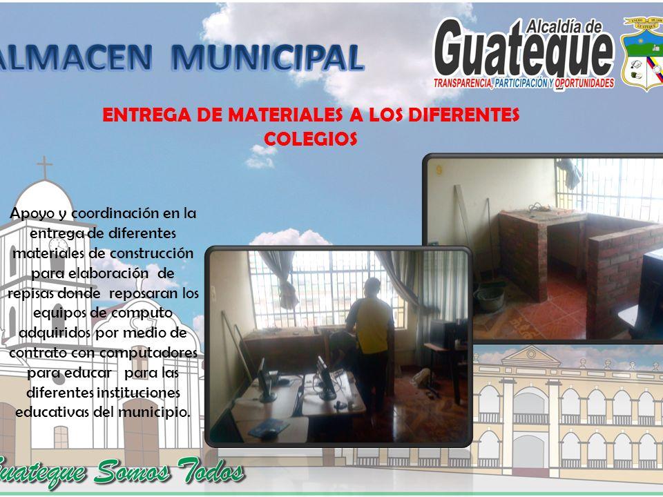 ENTREGA DE MATERIALES A LOS DIFERENTES COLEGIOS