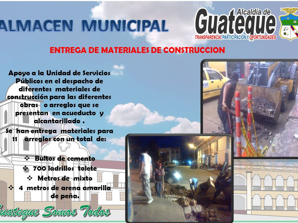 ENTREGA DE MATERIALES DE CONSTRUCCION