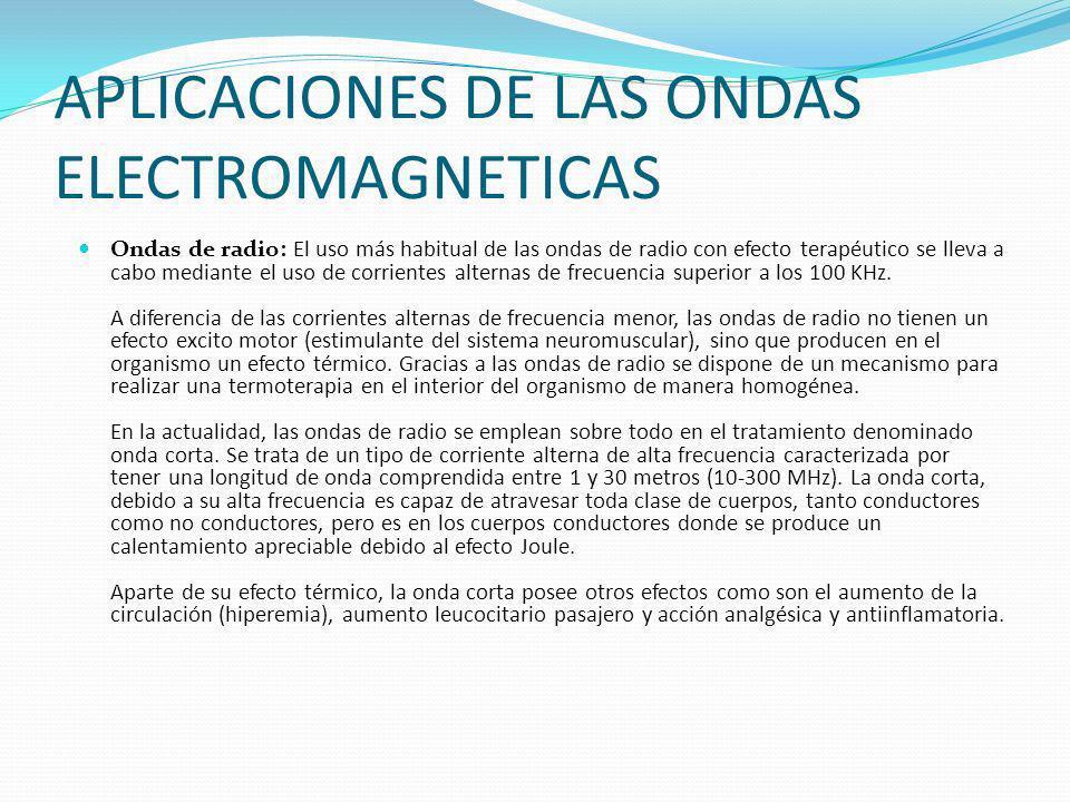 APLICACIONES DE LAS ONDAS ELECTROMAGNETICAS