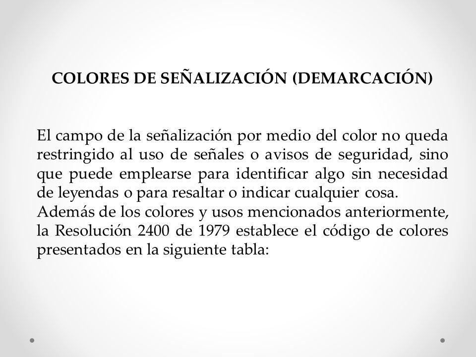 COLORES DE SEÑALIZACIÓN (DEMARCACIÓN)