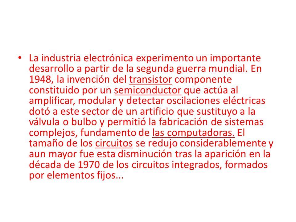 La industria electrónica experimento un importante desarrollo a partir de la segunda guerra mundial.