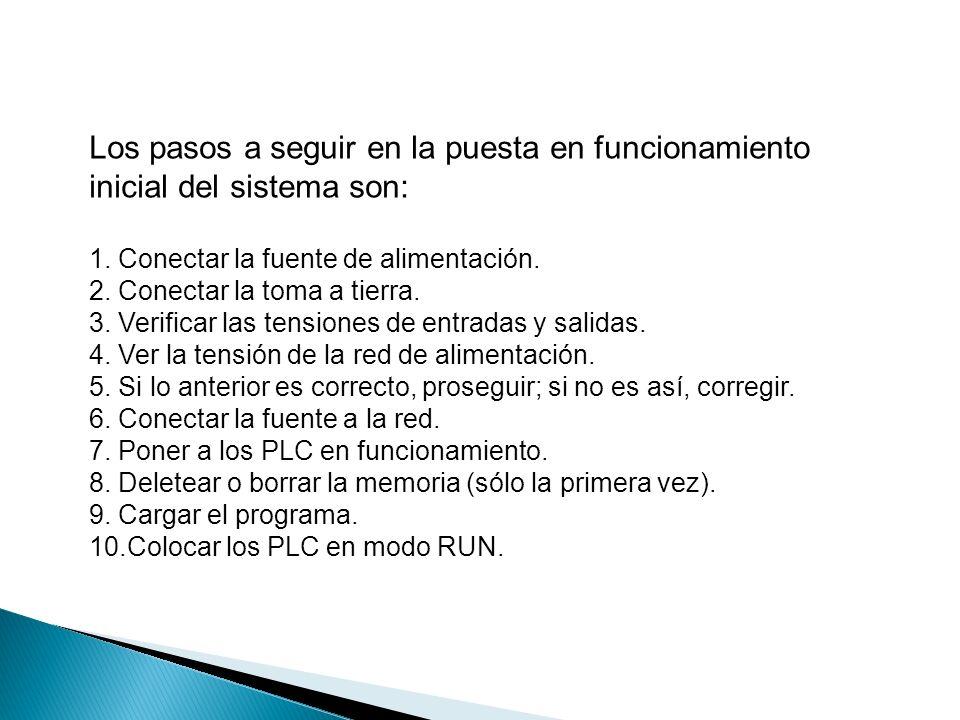 Los pasos a seguir en la puesta en funcionamiento inicial del sistema son: