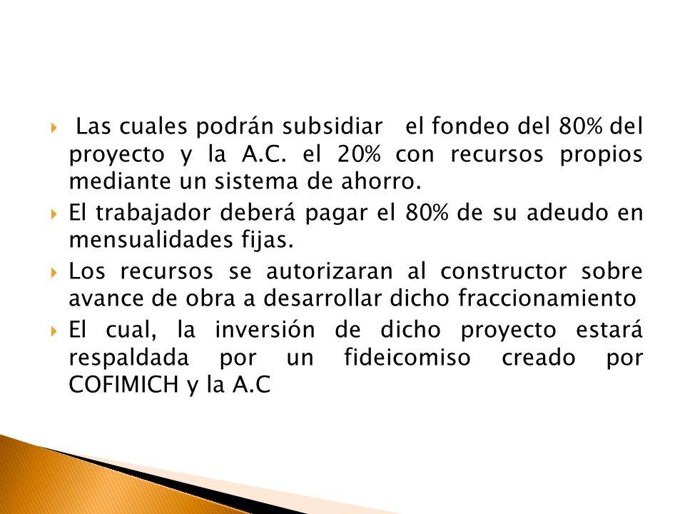 Las cuales podrán subsidiar el fondeo del 80% del proyecto y la A. C