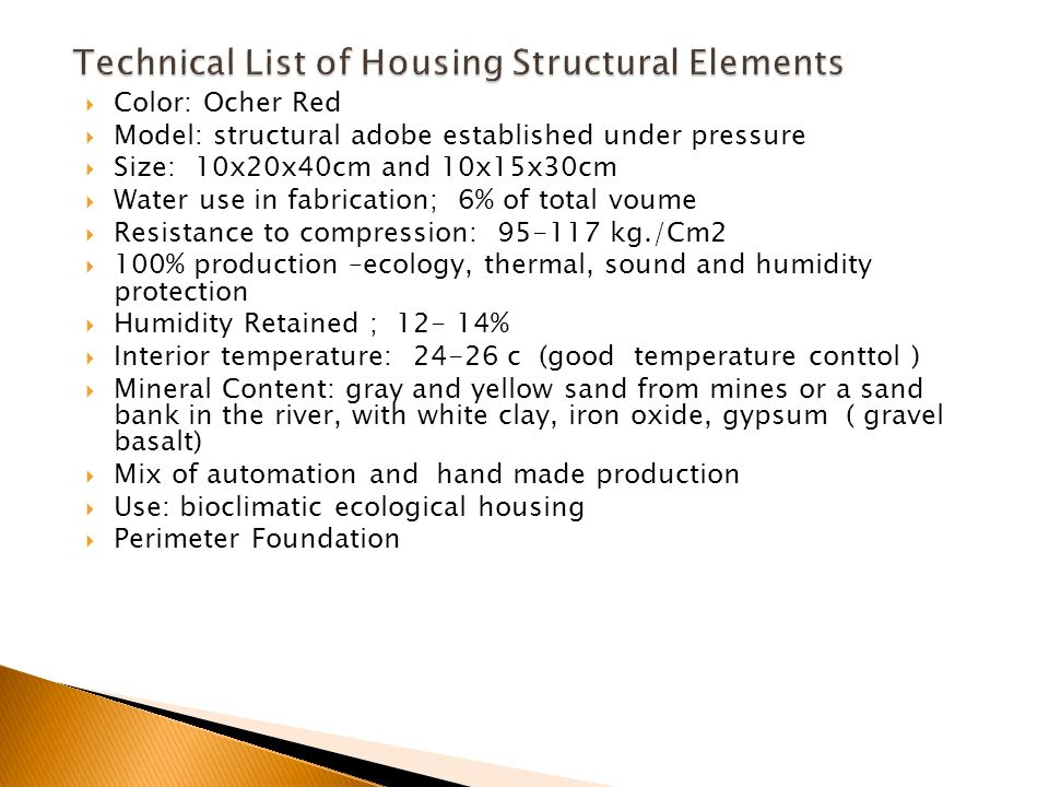 Technical List of Housing Structural Elements