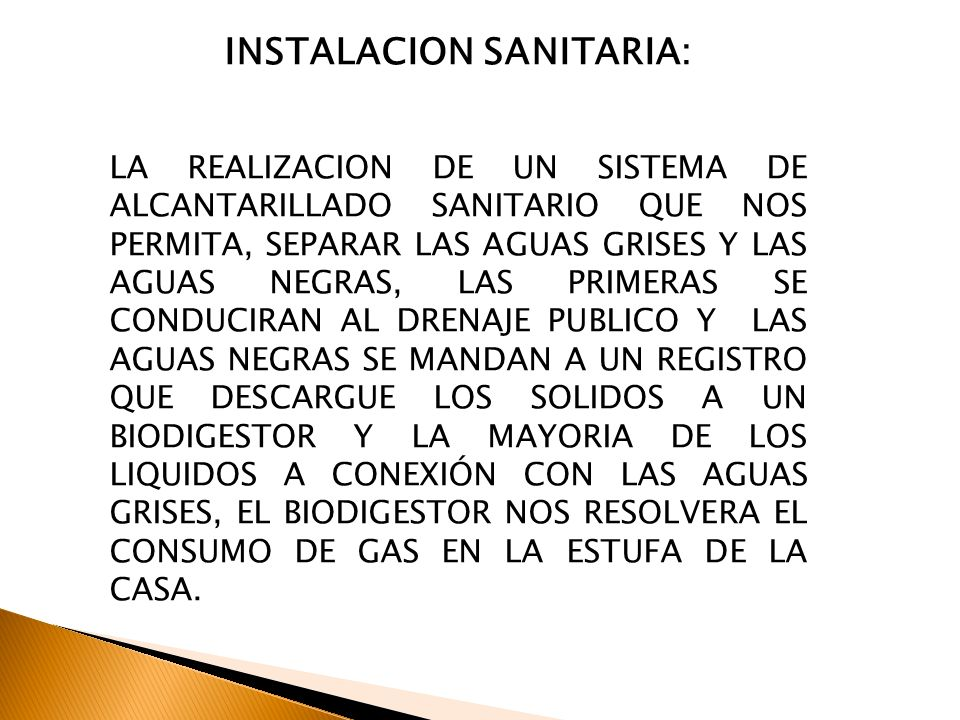 INSTALACION SANITARIA: