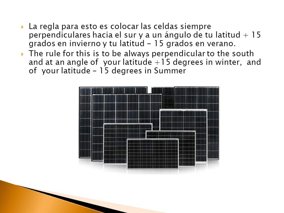 La regla para esto es colocar las celdas siempre perpendiculares hacia el sur y a un ángulo de tu latitud + 15 grados en invierno y tu latitud - 15 grados en verano.
