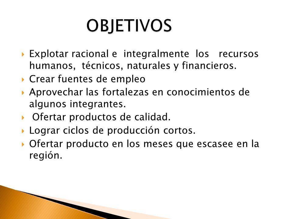 OBJETIVOS Explotar racional e integralmente los recursos humanos, técnicos, naturales y financieros.