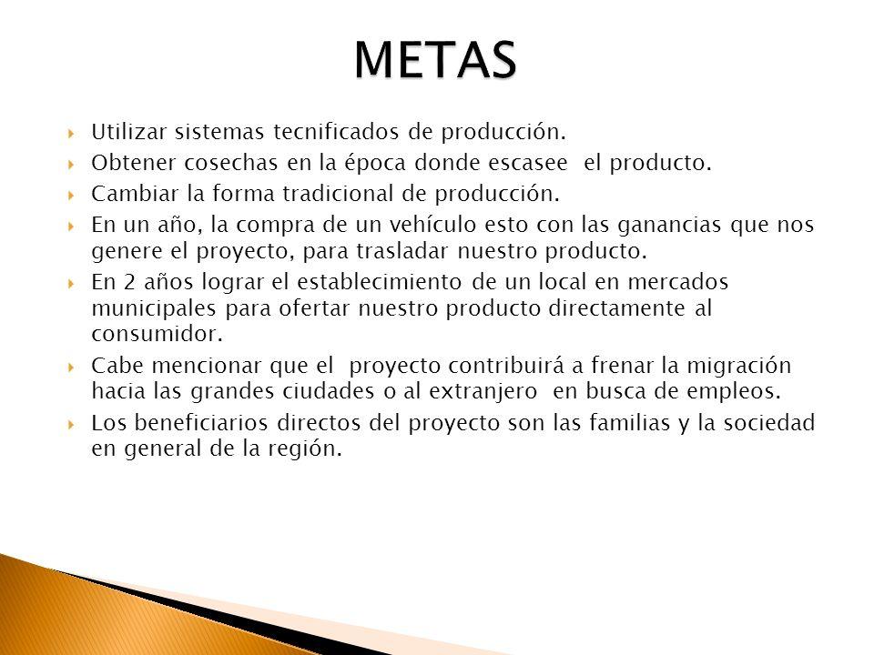 METAS Utilizar sistemas tecnificados de producción.