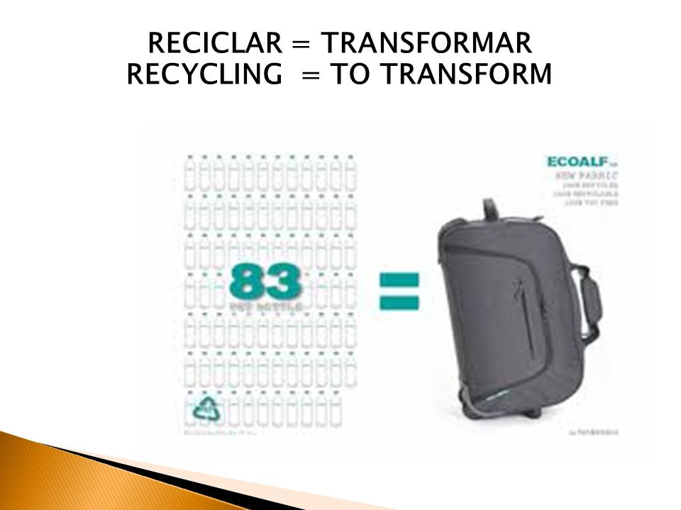 RECICLAR = TRANSFORMAR RECYCLING = TO TRANSFORM