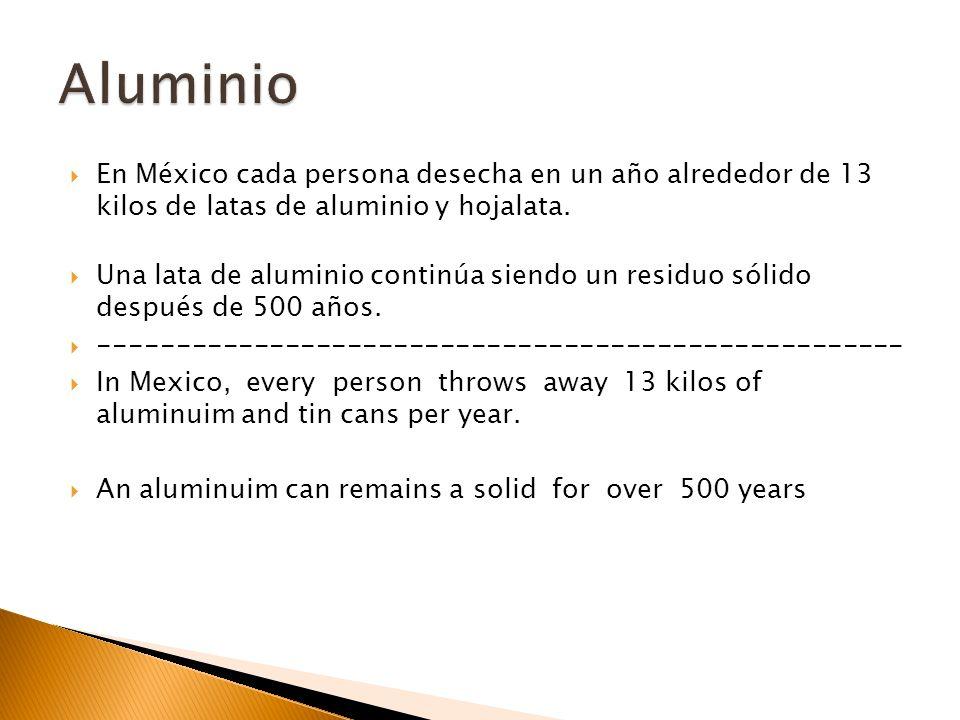 Aluminio En México cada persona desecha en un año alrededor de 13 kilos de latas de aluminio y hojalata.